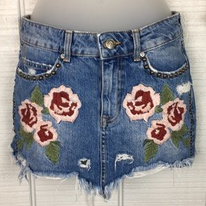 Free People Wild Rose Denim Embroidered Skirt